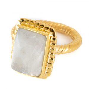 """Edelstein-Ring Regenbogen-Mondstein 925 Silber & Gold plattiert """"Kasasha"""" (Größe 17)"""