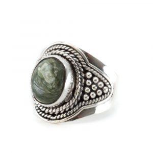 """Edelstein-Ring Seraphinit 925 Silber """"Fohsira"""" (Größe 17)"""
