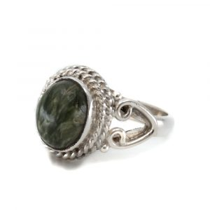 """Edelstein-Ring Seraphinit 925 Silber """"Nifih"""" (Größe 17)"""
