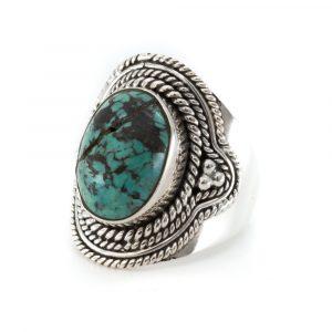"""Edelstein-Ring Türkis 925 Silber """"Defira"""" (Größe 17)"""