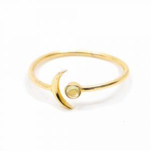 Geburtsstein Mond Ring Peridot August - 925 Silber - verstellbar
