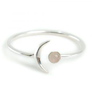 Geburtsstein Mond Ring Rosenquarz Oktober- 925 Silber - Farbe Silber