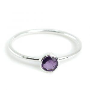 Geburtsstein Ring Amethyst Februar - 925 Silber - Silber (Größe 17)