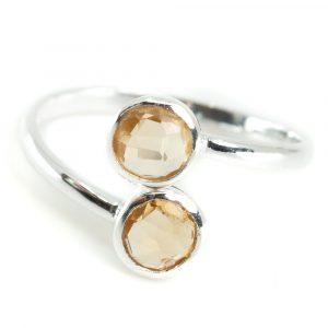 Geburtsstein Ring Citrin November - 925 Silber