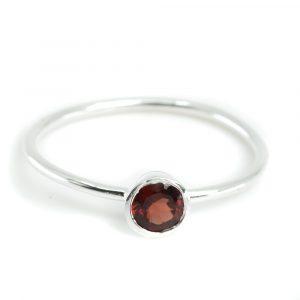 Geburtsstein Ring Granat Januar - 925 Silber - Silber (Größe 17)