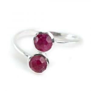 Geburtsstein Ring Rubin Juli - 925 Silber - Silbrig