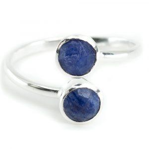 Geburtsstein Ring Saphir September - 925 Silber