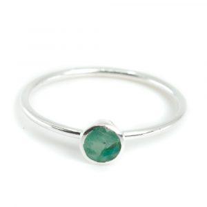 Geburtsstein Ring Smaragd Mai - 925 Silber - Farbe Silber (Größe 17)