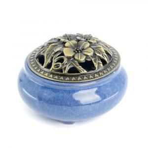 Traditionelle tibetische Keramik-Räucherstäbchen-Brenner blau