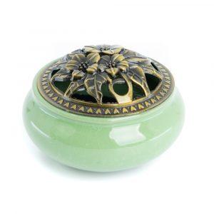 Traditioneller tibetischer Keramik-Räucherstäbchenbrenner grün