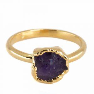 Geburtsstein Ring Einfarbig Amethyst Februar - 925 Silber - vergoldet