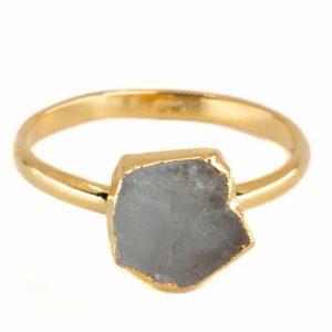 Geburtsstein Ring Roher Aquamarin März - 925 Silber