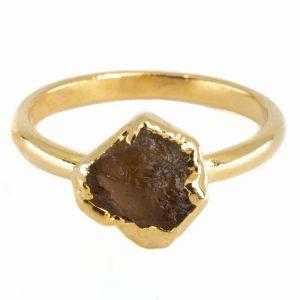 Geburtsstein Ring Roher Citrin November - 925 Silber