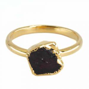 Geburtsstein Ring Roher Granat Januar - 925 Silber