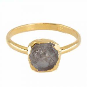 Geburtsstein Ring Roher Herkimer Diamant April - 925 Silber