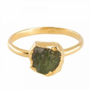 Geburtsstein Ring Roher Peridot August - 925 Silber - vergoldet