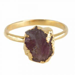 Geburtsstein Ring Rher Rosa Turmalin Oktober - 925 Silber