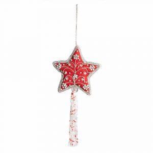 Anhänger Ornament Traditioneller Stern Rot (26 cm)