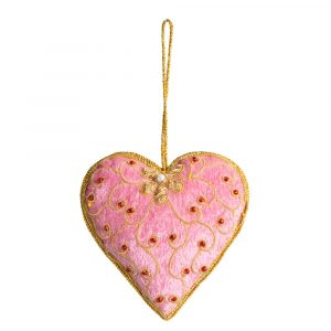 Anhänger Ornament Traditionelles Herz Rosa (17 cm)