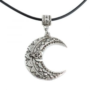 Ohm Mond Halskette Tibetisch - Silberfarben