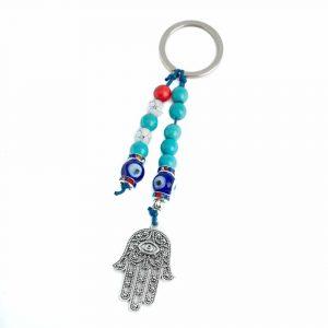 Schlüsselanhänger Schutz Hamsa Hand mit Perlen