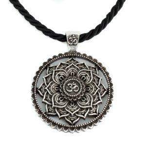 Tibetisches Mandala OHM Halskette - Silber (40 mm)