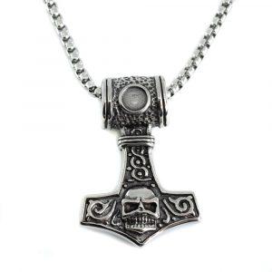 Wikinger-Anhänger Thors Hammer mit Totenkopf