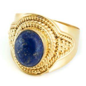 """Edelstein-Ring Lapislazuli 925 Silber & Gold plattiert """"Feze"""" (Größe 17)"""