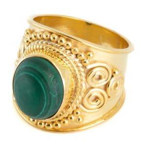 """Edelstein-Ring Malachit 925 Silber & Gold plattiert """"Mesa"""" (Größe 17)"""