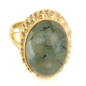 """Edelstein-Ring Prehnit 925 Silber & Gold plattiert """"Yenra"""" (Größe 17)"""