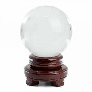 Feng Shui Kristallkugel mit Holzsockel (100 mm)