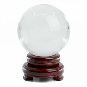 Feng Shui Kristallkugel mit Holzsockel (120 mm)