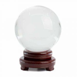 Feng Shui Kristallkugel mit Holzsockel (150 mm)