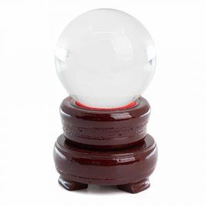 Feng Shui Kristallkugel mit Holzsockel (50 mm)
