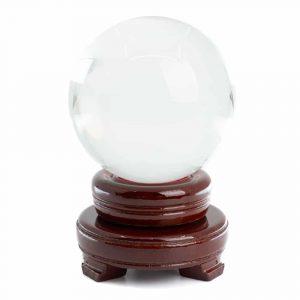 Feng Shui Kristallkugel mit Holzsockel (80 mm)