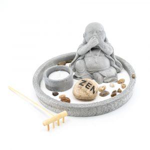 Mini Zen Garten Japanisch Rund mit Lachendem Buddha (8 cm)