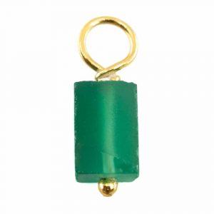 Roher Edelstein-Anhänger Grüner Onyx 925 Silber & vergoldet (8 - 12 mm)