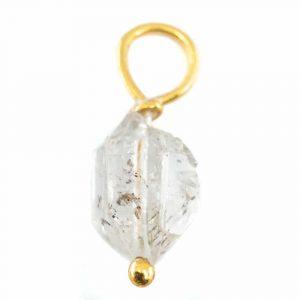 Roher Edelstein-Anhänger Herkimer Diamant 925 Silber & vergoldet (8 - 12 mm)