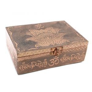 Tarot- oder Schmuckkästchen Lotus/ OHM Bronze (17,5 cm)