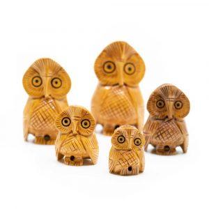 Holzstatue Eulen Familie (5 Stück)