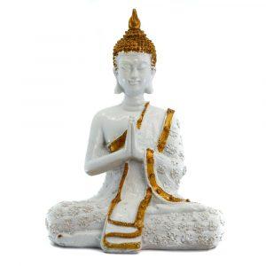 Thai Buddha Statue Meditieren Polyresin Weiß - 14 x 9 x 20 cm