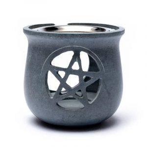 Räuchergefäß Pentagramm Speckstein grau mit Sieb
