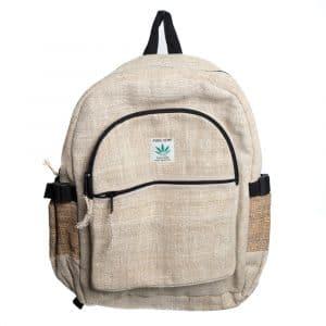 Hanf-Rucksack Natur mit 2 Fronttaschen (42 x 30 x 8 cm)